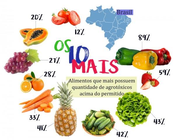 A Abrasco revelou em seu Dossiê sobre agrotóxicos, de 2015, que o brasileiro consome, por meio dos alimentos, 7,3 litros de pesticidas por ano (Infográfico: Mariane Arantes)