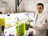 As pesquisas com microalgas são coordenadas pelo Prof. André Luís Coelho, da pós-graduação em Biotecnologia de Recursos Naturais (Foto: Ribamar Neto/UFC)