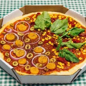 As pizzas veganas são um dos produtos mais populares do Bike Vegan (Foto: Divulgação)