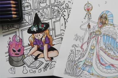 Meninas e Magia é um livro de colorir das ilustradoras Natália Prata e Erika Sampaio que tem como tema meninas mágicas (Foto: Divulgação/Catarse)