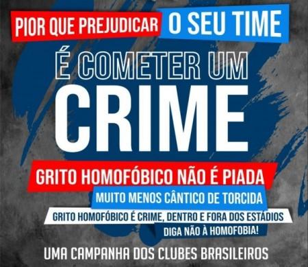 Na última quinta-feira (29), clubes brasileiros divulgaram em suas redes sociais uma campanha de conscientização para os torcedores em relação aos gritos homofóbicos. A ação faz parte de uma proposta educativa da CBF para evitar punições aos times (Arte: :