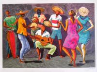"""Antes de se tornar o gênero musical reconhecidamente brasileiro, o samba surgiu como uma festa popular (Imagem: """"Roda de samba"""", de Carybé, 1984)"""