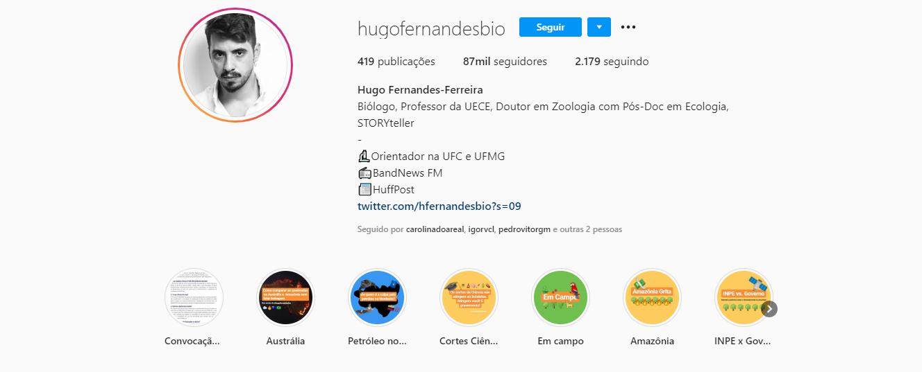 O biólogo Hugo Fernandes leva a seus seguidores nas redes sociais conteúdo de divulgação científica em uma linguagem mais acessível (Foto: Reprodução/Instagram)