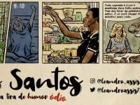 A  terceira publicação da série Os Santos viralizou na Internet e fez o trabalho de Leandro Assis ganhar destaque nacional. A imagem em destaque traz um trecho da famosa tirinha (Ilustração: Leandro Assis/Divulgação)