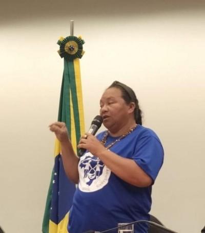 Eliene Pereira, a Maninha, em audiência no Senado Federal por ocasião do derramamento do petróleo cru no litoral nordestino (Foto: Francisco Nonato)