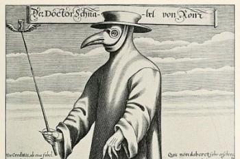 Dilene do Nascimento conta que os médicos usavam máscara em forma de um longo bico de pássaro, contendo ervas aromáticas para afastar os eflúvios da peste (Foto: Wikimedia Commons)