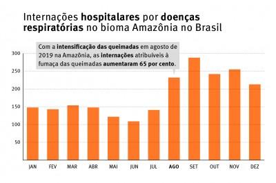 A avaliação das organizações sobre os impactos na saúde inclui uma análise estatística de dados oficiais sobre internações hospitalares, desmatamento, focos de calor e qualidade do ar (Foto: Human Rights Watch)