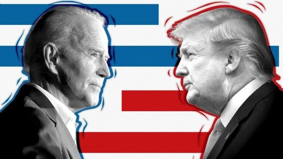 O democrata Joe Biden e o republicano Donald Trump são os principais concorrentes ao cargo de presidente dos Estados Unidos (Foto: BBC)