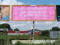 Um dos cinco outdoors que fazem parte do projeto da artista Sy Gomes (Foto: Muriel Cruz/ Divulgação)