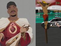 """Selecionada pelo MASP, """"A partir do meu sangue... arte"""" (à esquerda) é uma das obras que o artista do Riacho Doce, no Passaré, comentará no programa Zumbi, junto com """"FEBEM"""", à direita. (Imagens: Reprodução)"""